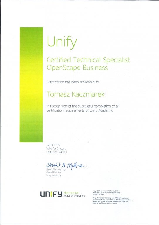 UNIFY Technical Specialist OpenScape Business