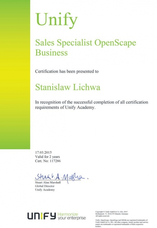 UNIFY Sales Specialist OpenScape Business (USSOB)